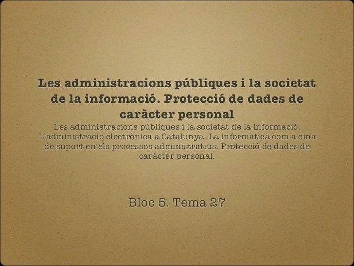 Cos administratiu GenCat - Bloc 5 Tema 27