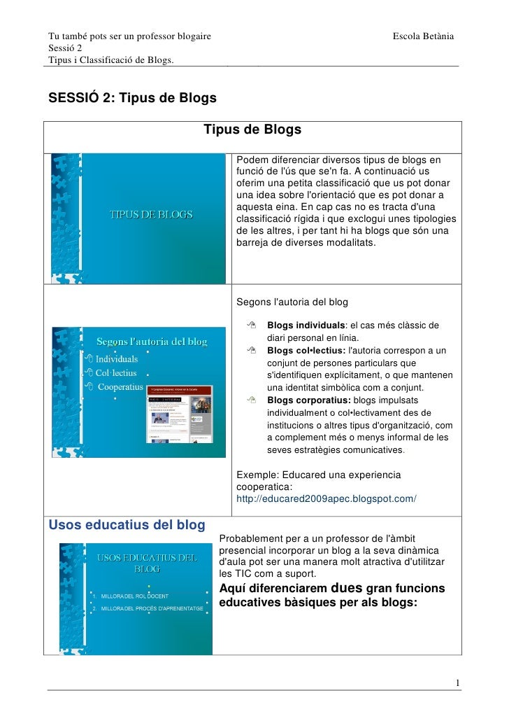 Tu també pots ser un professor blogaire                                             Escola Betània Sessió 2 Tipus i Classi...