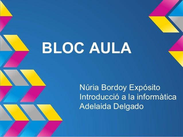 BLOC AULA Núria Bordoy Expósito Introducció a la informàtica Adelaida Delgado