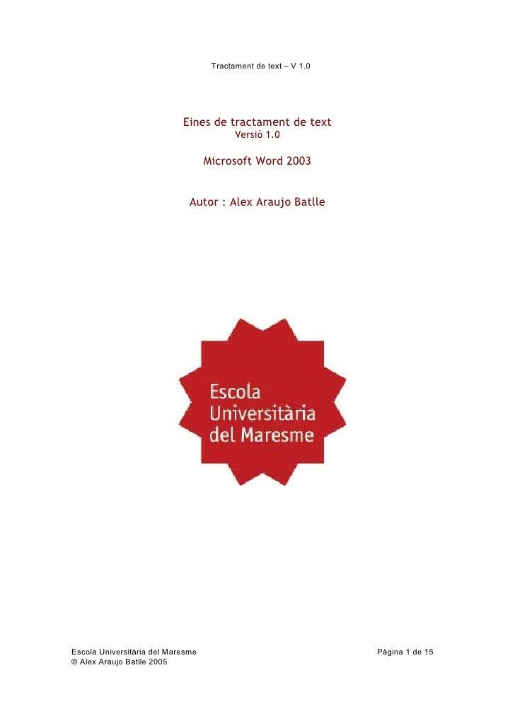 Curs Ofimàtica 2004-2005. Bloc Word