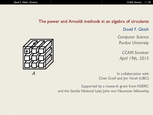 40 60 80 100 120406080mmDavid F. Gleich (Purdue) CCAM Seminar 1 / 29The power and Arnoldi methods in an algebra of circula...