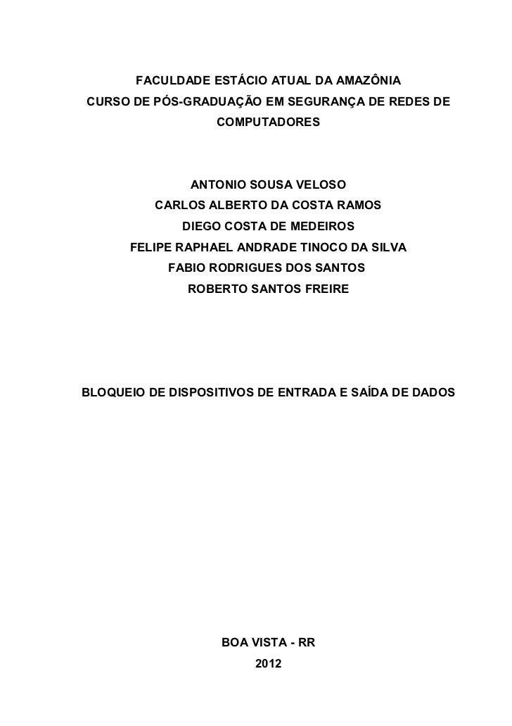 FACULDADE ESTÁCIO ATUAL DA AMAZÔNIACURSO DE PÓS-GRADUAÇÃO EM SEGURANÇA DE REDES DE                  COMPUTADORES          ...