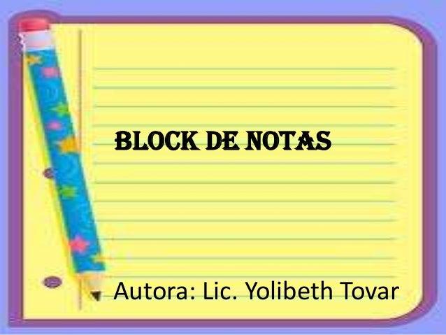 Block de notas yolibeth tovar