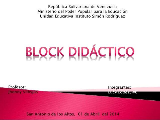 República Bolivariana de Venezuela Ministerio del Poder Popular para la Educación Unidad Educativa Instituto Simón Rodrígu...