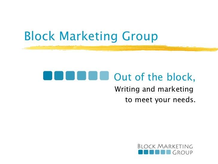 Block Marketing Group 2012