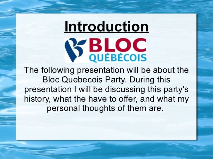 Bloc quebecois presentation (Vers. 2)