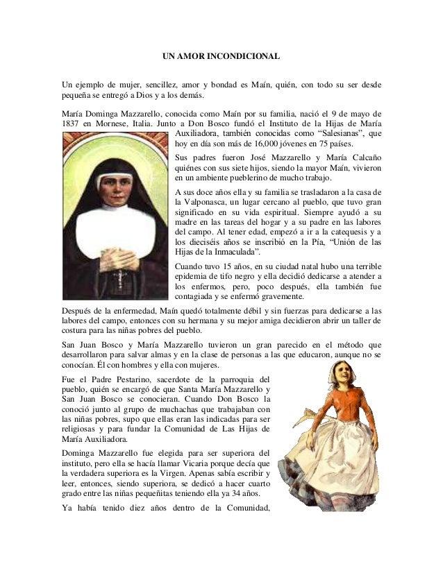 UN AMOR INCONDICIONALUn ejemplo de mujer, sencillez, amor y bondad es Maín, quién, con todo su ser desdepequeña se entregó...