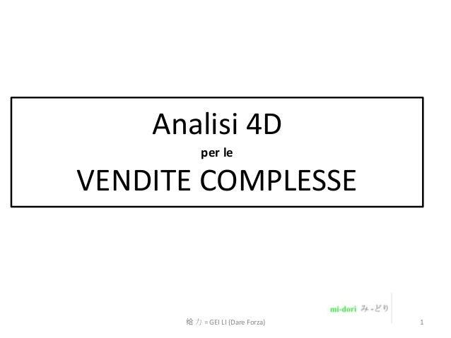 Analisi 4D per le  VENDITE COMPLESSE  给 力 = GEI LI (Dare Forza)  1