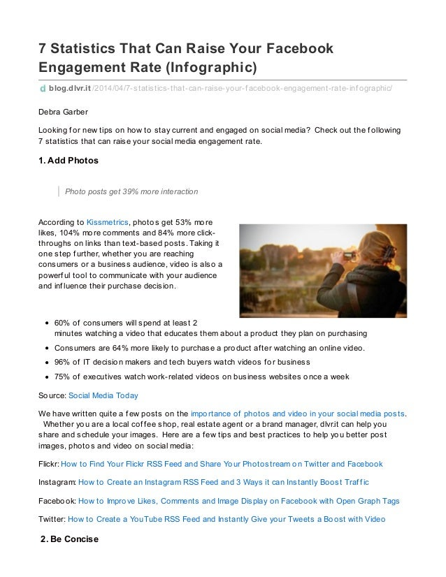 7 Statistics That Can Raise Your Facebook Engagement Rate (Infographic) blog.dlvr.it /2014/04/7-statistics-that-can-raise-...