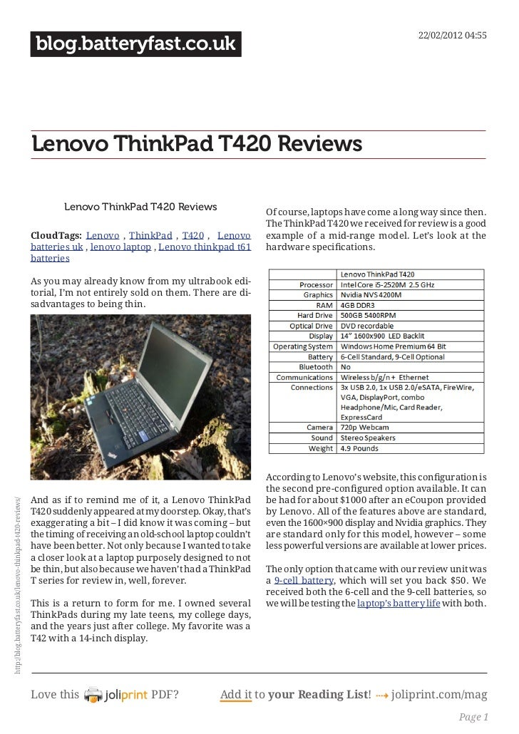 Blog.batteryfast.co.uk lenovo-thinkpad-t420-reviews