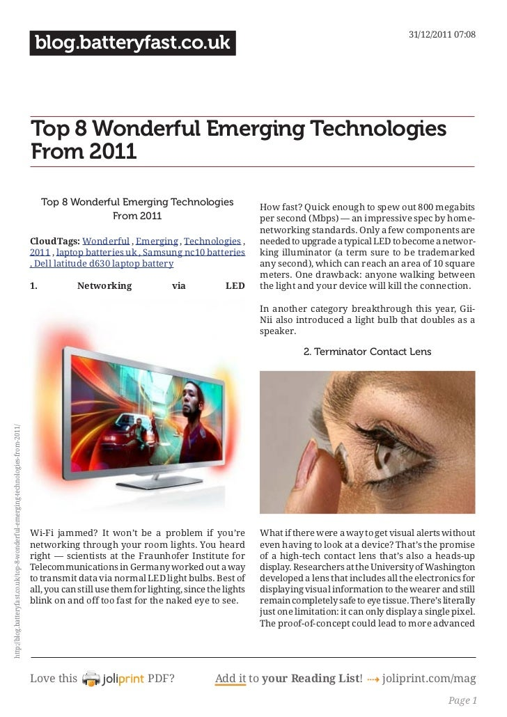 Blog.batteryfast.co.uk top-8-wonderful-emerging-technologies-from-2011