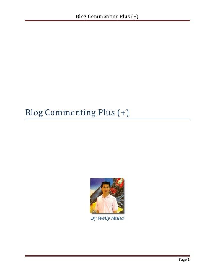 Blog Commenting Plus (+)