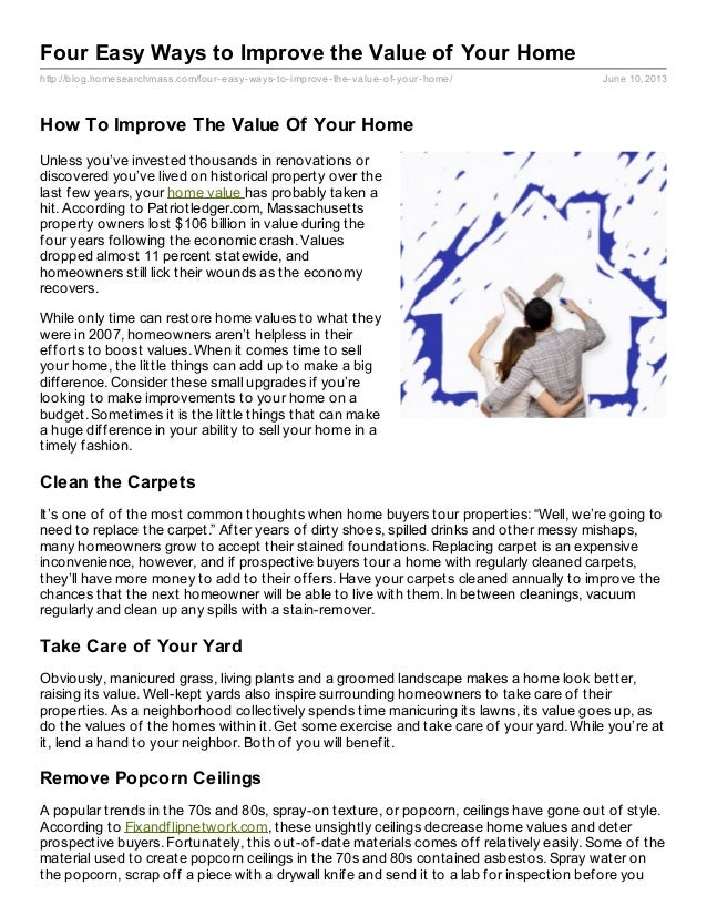 Four Easy Ways To Improve A Homes Value