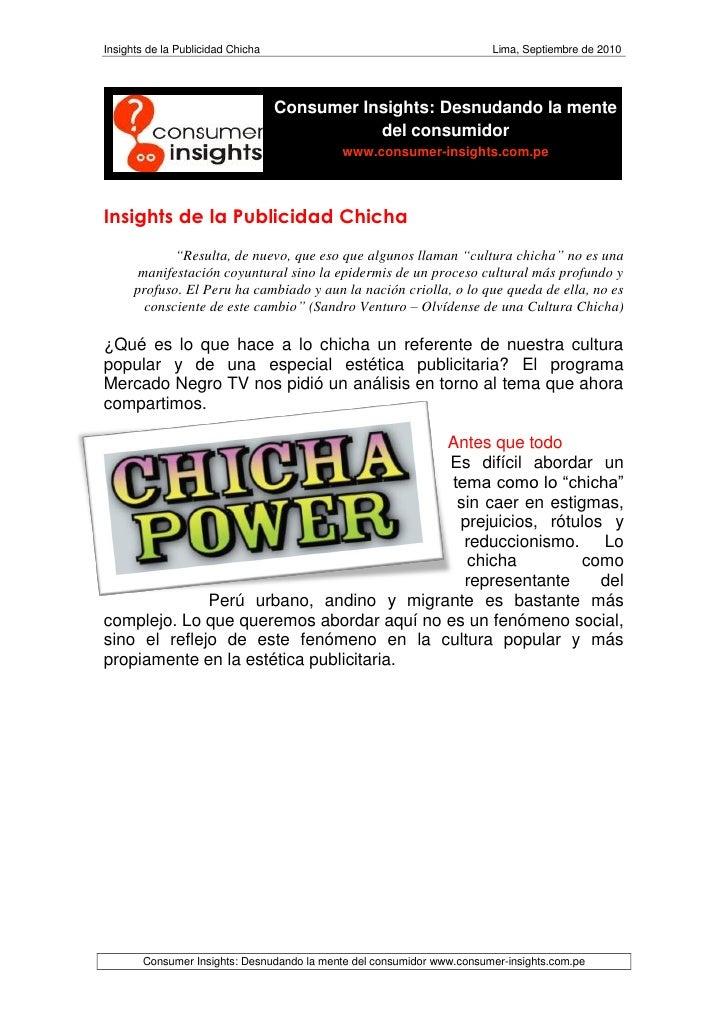 Insights de la Publicidad Chicha                                        Lima, Septiembre de 2010                          ...