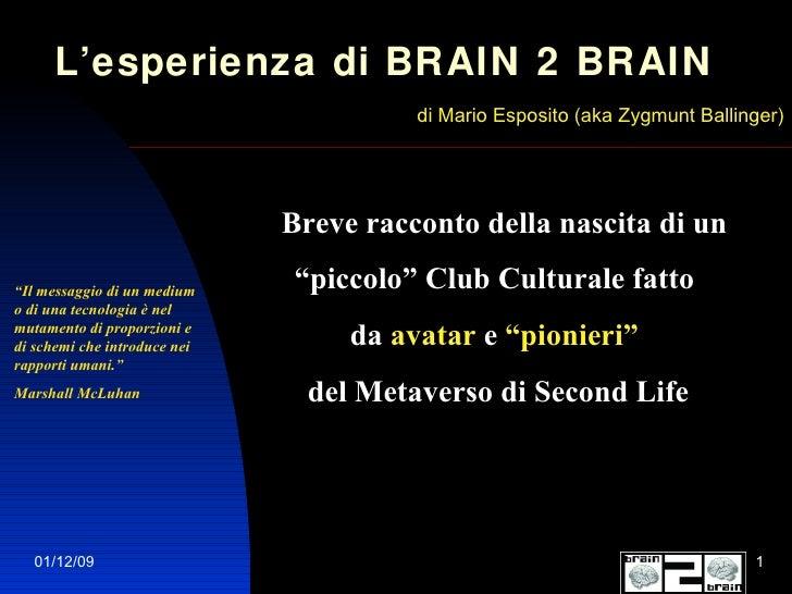 """L'esperienza di BRAIN 2 BRAIN   di Mario Esposito (aka Zygmunt Ballinger) Breve racconto della nascita di un  """" piccolo"""" C..."""