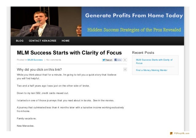 BLOG       CONTACT KEN ACREE             HOMEMLM Success Starts with Clarity of Focus                                     ...