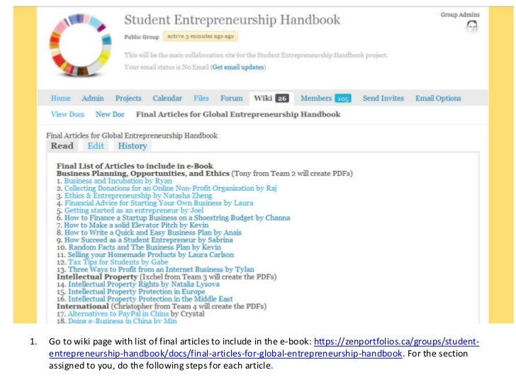 1.   Go to wiki page with list of final articles to include in the e-book: https://zenportfolios.ca/groups/student-     en...