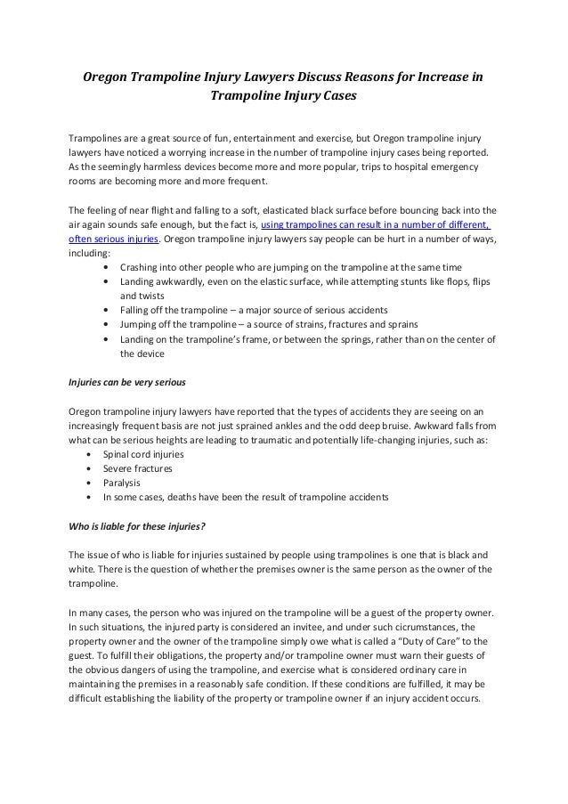 Oregon Trampoline Injury Cases
