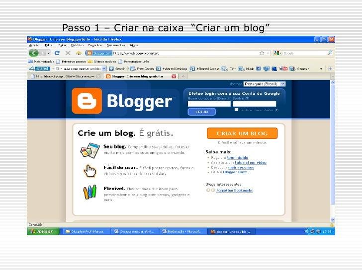 """Passo 1 – Criar na caixa  """"Criar um blog"""""""