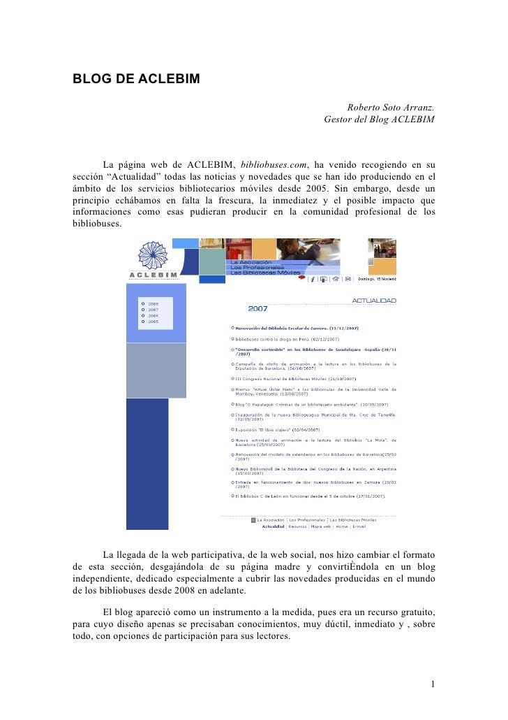 BLOG DE ACLEBIM                                                                  Roberto Soto Arranz.                     ...