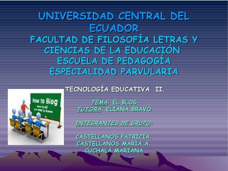 UNIVERSIDAD CENTRAL DEL ECUADOR FACULTAD DE FILOSOFÍA LETRAS Y CIENCIAS DE LA EDUCACIÓN  ESCUELA DE PEDAGOGÍA ESPECIALIDAD...