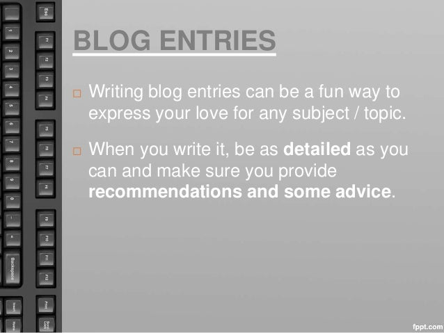 Writing a blog entry