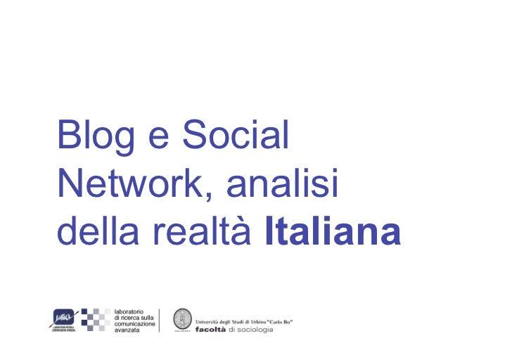Blog e Social Network, analisi della realtà Italiana
