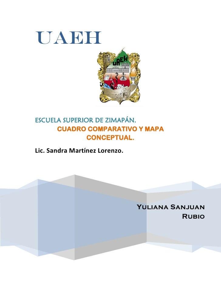 uaehESCUELA SUPERIOR DE ZIMAPÁN.      CUADRO COMPARATIVO Y MAPA               CONCEPTUAL.Lic. Sandra Martínez Lorenzo.    ...