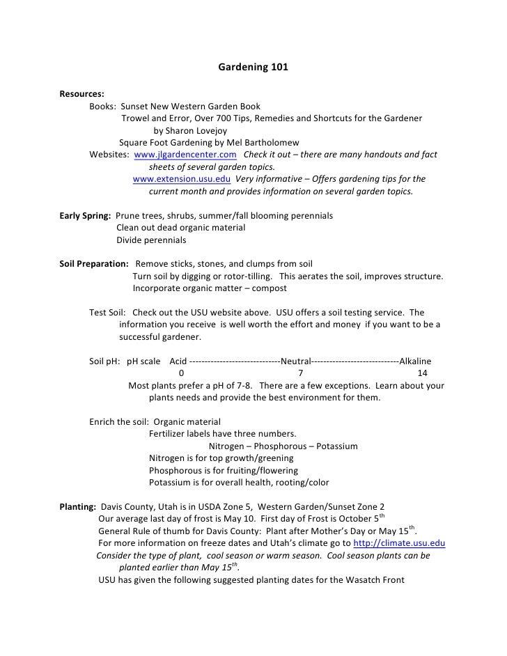Gardening 101<br />Resources:  <br />Books:  Sunset New Western Garden Book<br /> Trowel and Error, Over 700 Tips, Remedie...