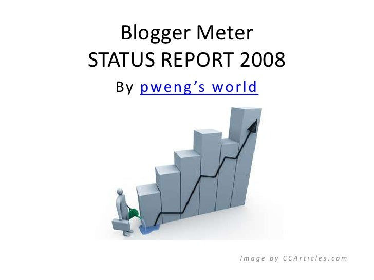Blogger MeterSTATUS REPORT 2008<br />By pweng's world<br />Image by CCArticles.com<br />