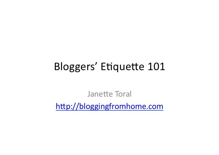 Bloggers' Etiquette 101