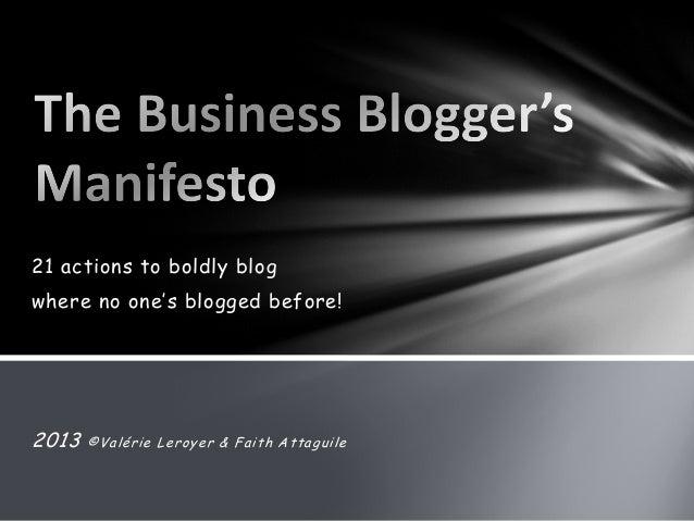 Business Blogger's Manifesto