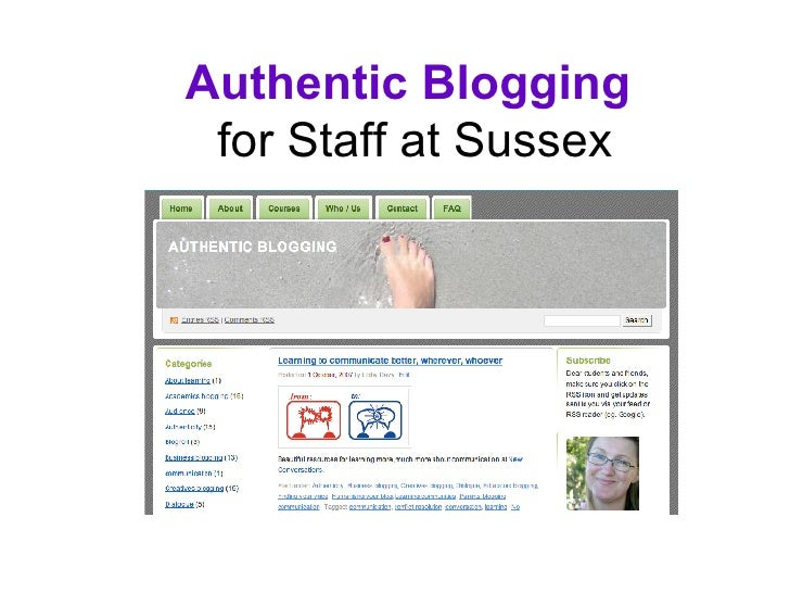 Authentic Blogging   for Staff at Sussex