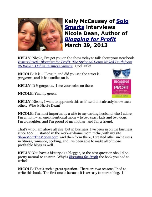 Kelly McCausey of Solo                               Smarts interviews                               Nicole Dean, Author o...