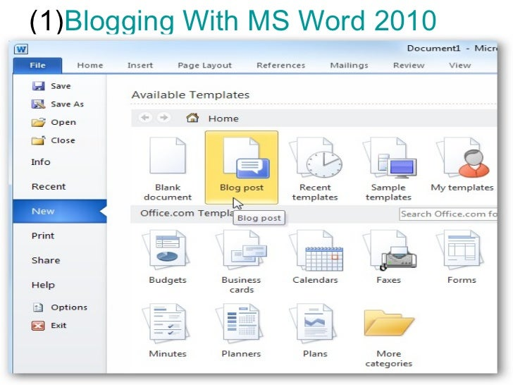 (1)Blogging With MS Word 2010