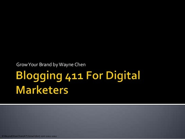 Blogging 411 For New Marketers