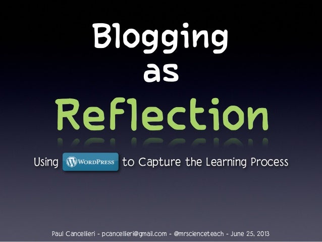 Blogging as Reflection