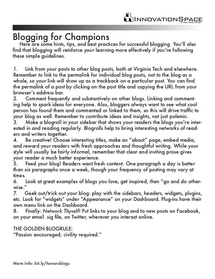 Blogging for champions