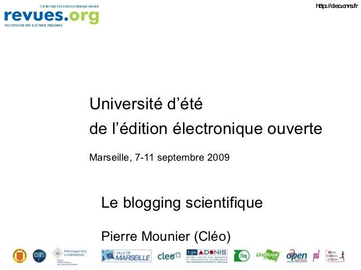 Le blogging scientifique