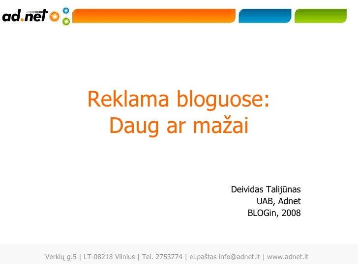 Adnet prezentacija Blogin 2008