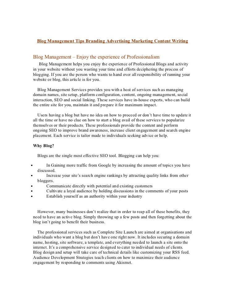 Blog Management Tips Branding Advertising Marketing Content Writing    Blog Management – Enjoy the experience of Professio...