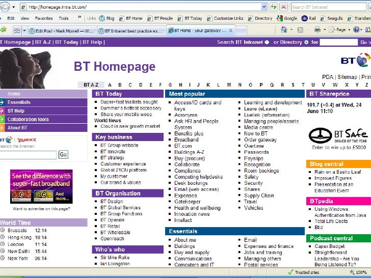 Mobile use of BT Intranet