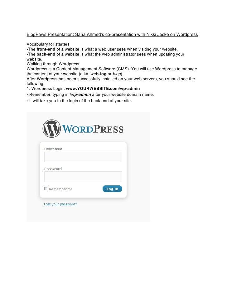 BlogPaws Presentation: Sana Ahmed's co-presentation with Nikki Jeske on Wordpress  Vocabulary for starters -The front-end ...