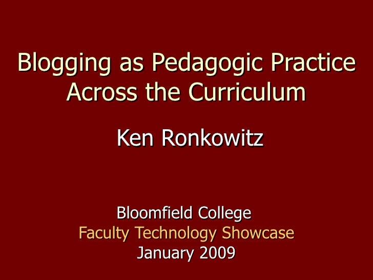 Blogging As Pedagogic Practice Across the Curriculum