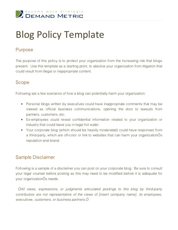 Blog policy template for Computer security policy template