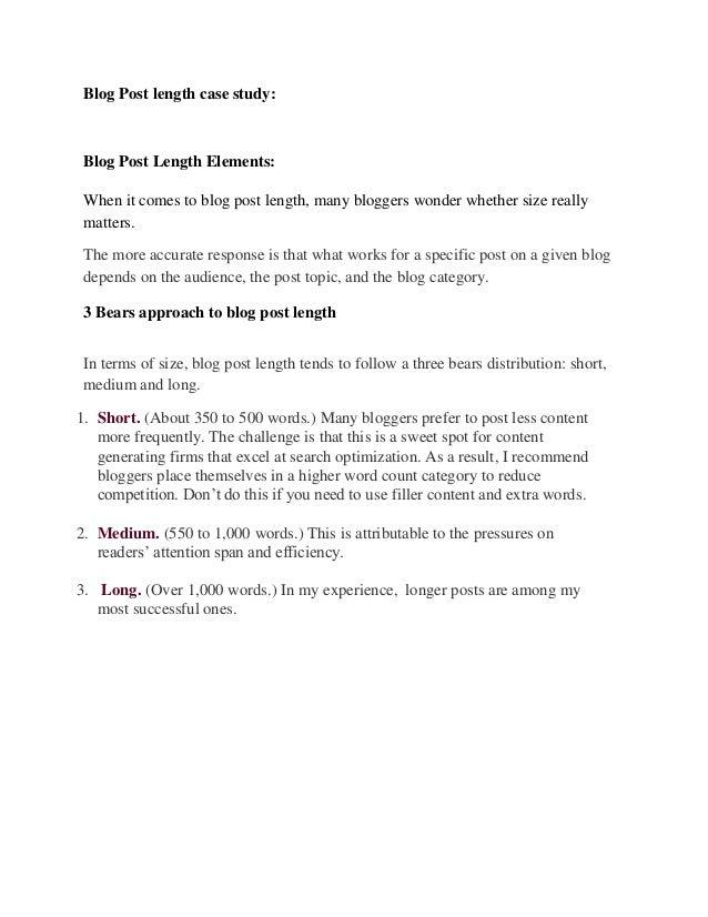 Blog post length case study