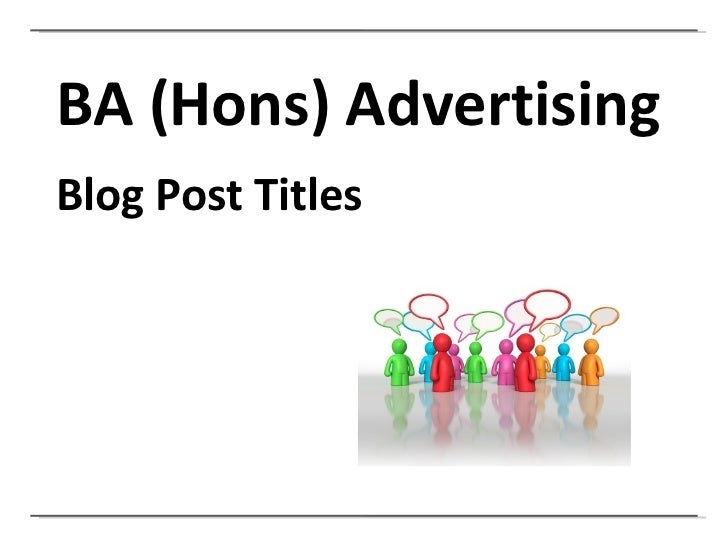 Blog Post Titles: A recap