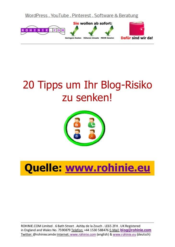 20 Tipps um Ihr Blog-Risi...