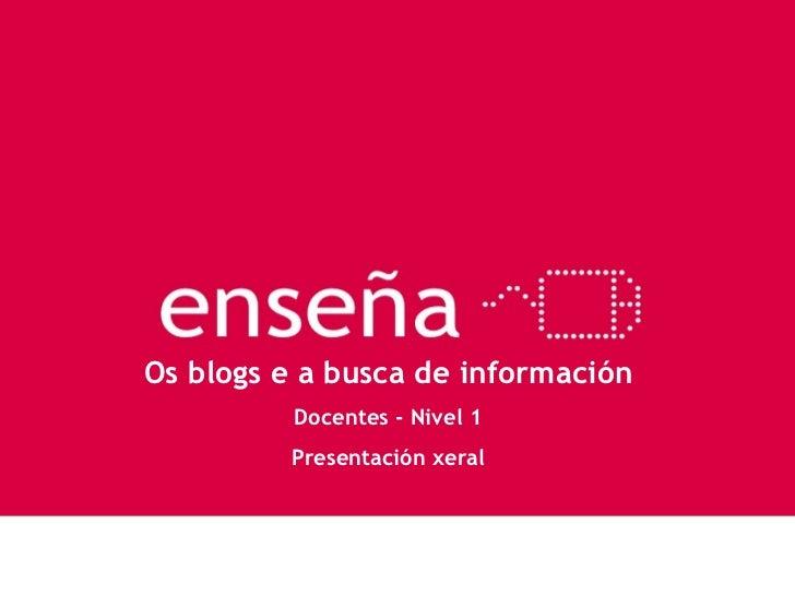 Os blogs e a busca de información Docentes - Nivel 1 Presentación xeral