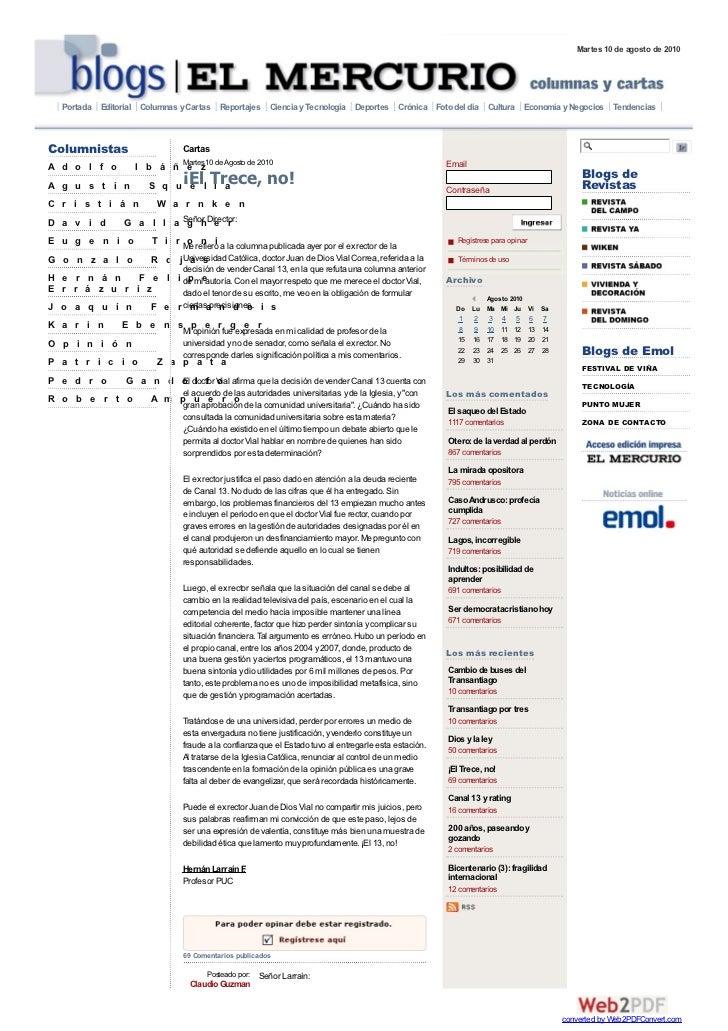 Martes 10 de agosto de 2010   Portada Editorial Columnas y Cartas Reportajes Ciencia y Tecnología Deportes Crónica Foto de...